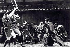 "Toshiro Mifune as the 'Nameless Stranger' in Akira Kurosawa's ""Yojimbo."" Just 10 years later, Clint Eastwood will kill 4 men for laughing at his mule in the retelling of ""Yojimbo""..."