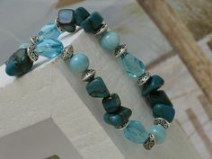 Aqua Zebra Stone and Shell Bracelet with by SeagrassJewelry, $20.00