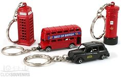 Set of Four Metal London Keyrings with Bus & Taxi for childrens' party packs