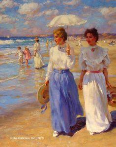 Vibrant beautiful Victorian-era painting of two ladies strolling along the beach, while a family wades in the background.  By artist Gregory Frank Harris.