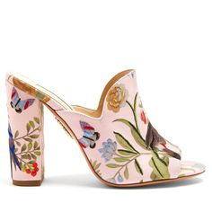 Aquazzura Aquazzura for de Gournay embroidered mules ($750) ❤ liked on Polyvore featuring shoes, heels, pink multi, block heel shoes, butterfly heel shoes, heeled mules, decorating shoes and butterfly shoes