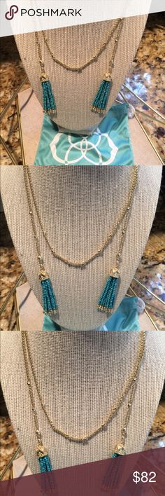 Kendra Scott Monique Necklace in Turquoise Kendra Scott Monique Lariat Necklace in Bronze veined Turquoise and Gold in color.  New with tags and pouch. Kendra Scott Jewelry Necklaces