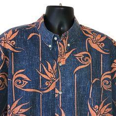 Reyn Spooner Camp Shirt XXL Blue Orange Tiki Alfred Shaheen 50s Inspired Hawaii  | eBay