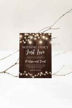 Rustic Winter Reception Party Invitation, Nothing Special Just Love Snowflake String Lights Wedding Reception Corjl Editable Template 428 Wood Invitation, Rustic Invitations, Invite, Christmas Wedding Invitations, Wedding Shower Invitations, Wedding Reception Lighting, Reception Party, Wedding Shower Decorations, Christmas Couple