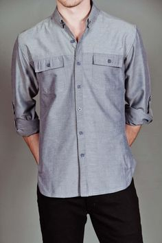 Arsnl Grant Long Sleeve Woven Blue Chambray
