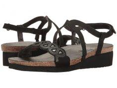 Naot Footwear Addie (Black Velvet Nubuck/Sterling Leather/Silver Rivets) Women's Shoes
