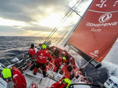 February 13, 2015. Leg 4 to Auckland onboard Dongfeng Race Team. Day 5. God's country; sun rays peer through the clouds. - Sam Greenfield / Dongfeng Race Team / Volvo Ocean Race