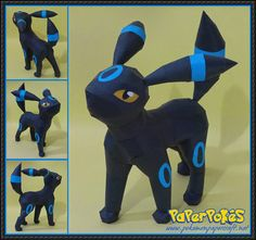This pokemon papercraft is Umbreon (Blacky), a Dark-type Pokémon, based on the anime / game Pokemon, the paper model was created by PODragon. 3d Paper Crafts, Paper Toys, Paper Art, Diy And Crafts, Cat Pokemon, Pokemon Umbreon, Pikachu, Dark Type Pokemon, Papercraft Pokemon