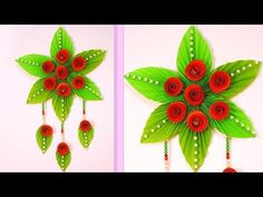 DIY : Paper Craft Ideas - Simple Home Decor at Home - Hanging Flower Rose - YouTube Easy Valentine Crafts, Easy Paper Crafts, Easy Crafts For Kids, Diy Arts And Crafts, Diy Paper, Paper Wall Hanging, Wall Hanging Crafts, Hanging Art, Paper Rosettes