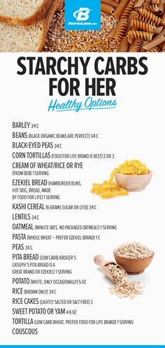 CARBS/STARCHES - FOR HER - Healthy Options