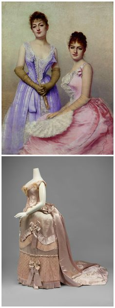 """Above: """"The Debutantes,"""" by Marta Aronssohn-Danzig, 1889. Christie's, via Gogmsite. Below: Gown by Charles Frederick Worth, c. 1888, at the Metropolitan Museum of Art. Pink silk satin with matching silk tulle and lace applied trim. Worn by Esther Chapin as a 17 or 18 year old debutante. Ordered with three bodices, the gown can be transformed into a dinner dress, a ball gown (as shown here) or a court presentation gown."""