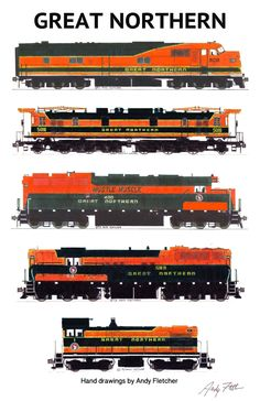 5 hand drawn Great Northern orange and green paint scheme locomotive drawings by Andy Fletcher