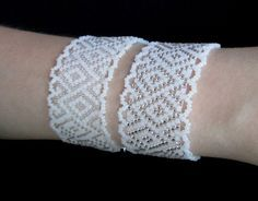 'lacey' bracelet that is not netted - just peyote with white either silver lined…