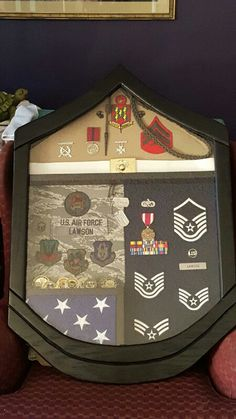 Military Retirement display box for career in 2 branches (USMC & USAF) Military Retirement, Retirement Gifts, Retirement Ideas, Military Shadow Box, Military Love, Picture Frame Display, Military Memorabilia, Display Boxes, Usmc