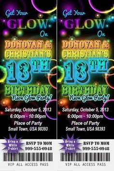 Sweet 16 GLOW in the Dark Theme NEON DISCO Birthday Party Invitation