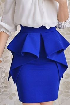 Multi ruffle layer peplum skirt sapphire/tardis blue great for work African Fashion Dresses, African Dress, Mode Outfits, Fashion Outfits, Womens Fashion, Fashion Sets, Skirt Outfits, Look Fashion, Fashion Design