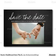 Rustic Chalkboard Save The Date | Couple Photo Postcard