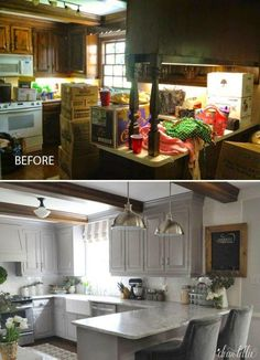 Tiny Farmhouse Kitchen Remodel Ideas: Stunning difference in the before and after pictures of this small kitchen make-over.