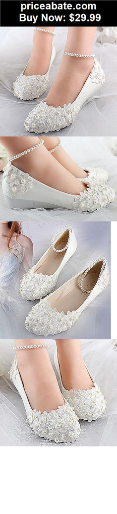 Wedding-Shoes-And-Bridal-Shoes: White lace satin pearl flowers wedge Wedding flats shoes Bridal heels size 5-12  - BUY IT NOW ONLY $29.99