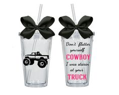 Country Girl Truck Cowboy Lifted Tumbler Cup by TheGirlsinPink #countrygirl #liftedtruck