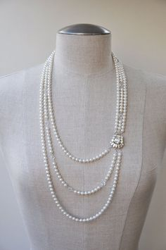 Bridal Jewelry Freshwater Pearl Necklace by CamillaChristine