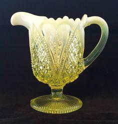 DAVIDSON~WILLIAM & MARY~RD:413701~YELLOW~PEARLINE~VASELINE GLASS~PEDESTAL JUG Glass Jug, Glass Ceramic, Christmas Thoughts, Christmas Time, Hamptons Decor, Tuscan Decorating, Turquoise Glass, Tea Art, Coffee Lover Gifts