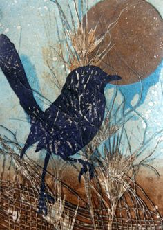 Title: Moonlight Wren Medium: Monotype, Variable Edition of 10 Artist: Sandra Pearce www.sandrapearce.com.au