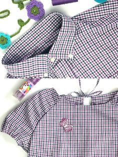 12 Colours of Handmade Fashion: Lila! Upcycling Bluse Herzstück mit Keyhole Upcycling ladies blouse made of men's shirt sewn by Basteltantes sewing box ♥ You can find all information and more pict Upcycled Crafts, Sewing Crafts, Upcycled Clothing, Recycled Mens Shirt, Diy Kleidung, Refashioning, Shirt Refashion, Sewing Box, Dressmaking