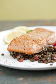 Seared Salmon with Lentils
