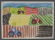 Maalasimme neljäsluokkalaisten kanssa keväisiä peltoja ja piirsimme sinne traktoreita työntouhuun. Harjoittelimme samalla syvyysvaikutelman ...