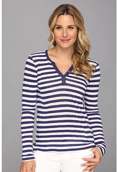 $23, Tommy Bahama Linnea Stripe Jersey Henley. Sold by 6pm.com. Click for more info: https://lookastic.com/women/shop_items/95279/redirect