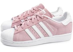 ADIDAS Women's Shoes - Chaussures adidas Superstar Suede rose pâle vue extérieure - ADIDAS Women's Shoes