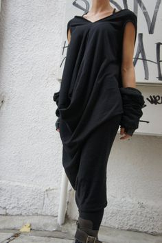 Loose Tunic Top / Extravagant Dress/ One size / Black  by Aakasha, $75.00