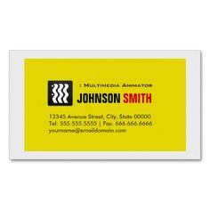 Multimedia Animator - Urban Yellow White Business Card Templates