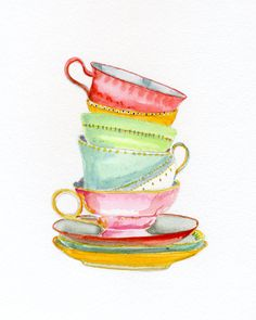 Teacups by Miri Frenkel Eshet on Artfully Walls