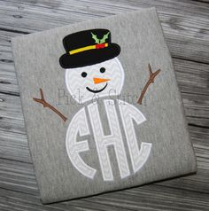 Made for Monogram Snowman Frosty Christmas Applique Design Machine Embroidery INSTANT DOWNLOAD by pickandstitch on Etsy