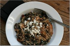 """Quinoa & Swiss Chard Salad - This was really good! I had made a soup that used the stems of the Swiss Chard but not the actual leafs. I had never eaten Swiss Chard before so I was looking for a salad recipe and this hit the spot! My boyfriend even said """"I wish there was more"""" and he's not a big fan of quinoa! However I did use a half cup of feta because we're cheese addicts :)"""