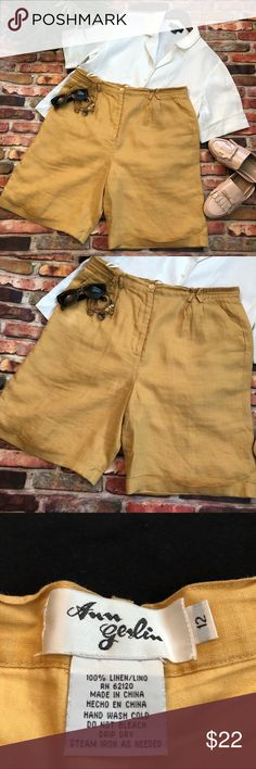 Women s linen shorts size 12 Women s linen Bermuda shorts size 12 in a  beautiful golden yellow 86c3d37f808