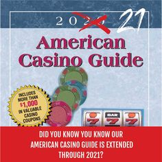 Did you know you know our American Casino Guide is extended through 2021? By ordering the American Casino Guide book, you will have access to over $1,000 in valuable casino coupons. Order your copy today by visiting our website at www.americancasinoguidebook.com/shop! FYI, if we are sold out on our website then the guide can also be ordered on Amazon! #casino #gambling #bettingexpert #onlinecasino #casinoguide #travelwithACGB American Casino, Guide Book, Online Casino, Did You Know, Knowing You, Coupons, Website, Amazon, Books