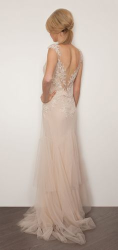 Dreamy, blush-colored, romantic wedding gown of tulle, lace and delicate beading by SARAH JANKS - Bridal Couture - Briana
