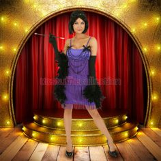 1920s Decade Purple Flapper Dress Costume