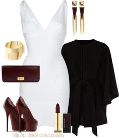 """""""Herve Leger Dress & Dark Red"""" by casuality on Polyvore"""