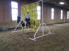 """Pictures of a """"build it yourself"""" PVC Horse Training Carwash Obstacle"""