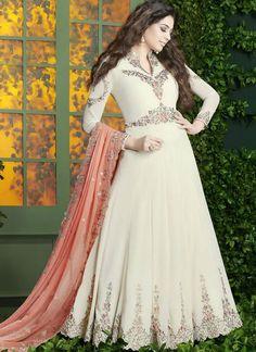 040f450ab6 Blisful White Georgette Designer Embroidered Work Anarkali Salwar Kameez