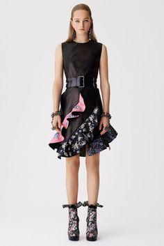 Alexander McQueen Resort 2017 Denim Embellished Ruffle Dress
