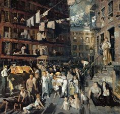 """Cliff Dwellers,"" George Wesley Bellows, 1913, oil on canvas, 40.19 x 42.06"", Los Angeles County Museum of Art."