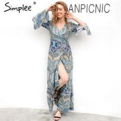 Simplee 2017 V neck boho floral print chiffon maxi dress with high split