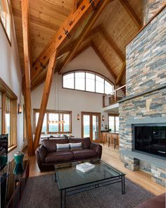 Vermont Timber Works crafted a timber frame designed by Architect Jeremy Bonin for this farmhouse in Vermont.