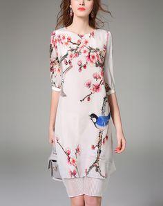 White Floral Print Silk Floral Midi Dress