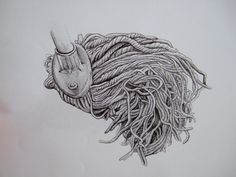The mop series, Frances Trace, pen on paper. Fine Art Drawing, Art Drawings, Mystery, Lion Sculpture, France, Statue, This Or That Questions, Paper, Beautiful